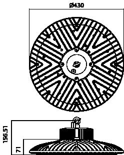 Proiettore a led serie HBR 150W - Disegno tecnico