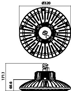 Proiettore a led serie HBR 70W - Disegno tecnico