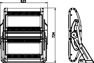 Proiettore a led serie FLS 600W - Disegno tecnico