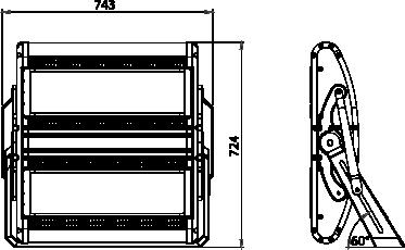 Proiettore a led serie FLS 800W - Disegno tecnico