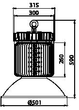 Proiettore a led serie HB 200W - Disegno tecnico
