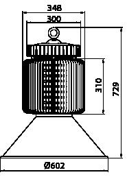 Proiettore a led serie HB 300W - Disegno tecnico