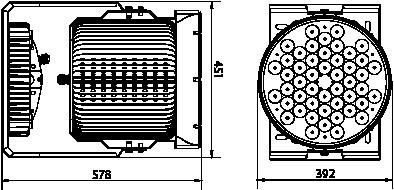 Proiettore a led serie PL 300W-360W - Disegno tecnico