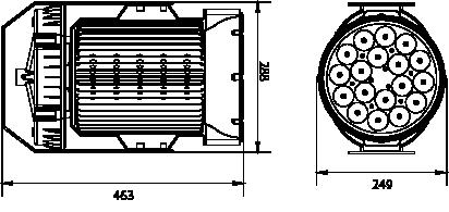 Proiettore a led serie PL 60W - Disegno tecnico
